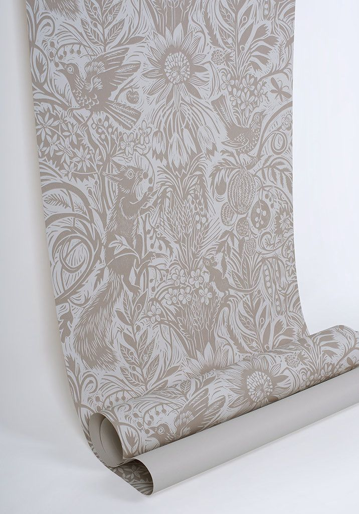 Squirrel and Sunflower wallpaper by Mark Hearld - Clay Bisque