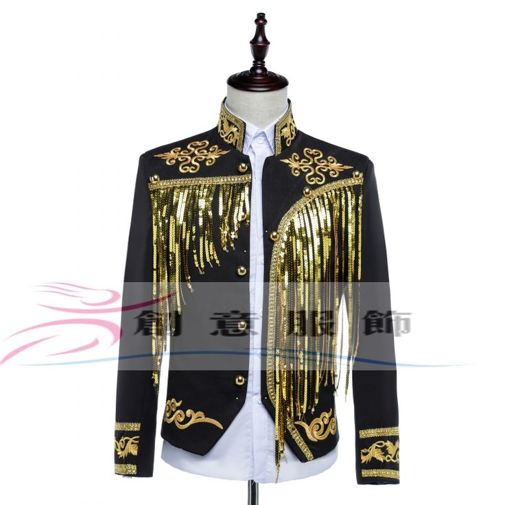 Male Palace Loading Sequins Embroidered Tassel Costume Black And White Slim Casual Stage Performance Jacket Men's Outerwear