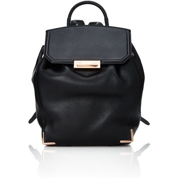 Alexander Wang Black Leather Prisma Backpack (21,000 MXN) ❤ liked on Polyvore featuring bags, backpacks, black, alexander wang backpack, urban backpack, one shoulder backpack, drawstring backpacks and draw string backpack