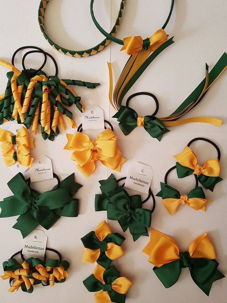 Madelienas Handmade School Hair Accessories set BOTTLE GREEN & YELLOW-GOLD - AU$55.00 a set