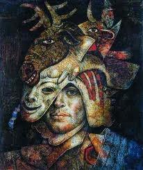 Guerrero del fauno - oil paint by Colombian artist, Peruvian born Armando Villegas, 1926-2013