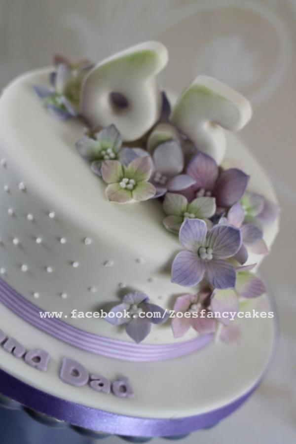 {Pleasing lavender Hydrangea cake by Zoe's Fancy Cakes}