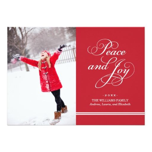 Holiday Photo Card | Peace And Joy In Red & White Card