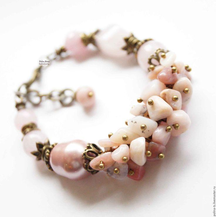 """Купить Браслет """"Озера Северной Мавритании"""" розовый опал, барочный жемчуг - браслет, браслет из камней"""