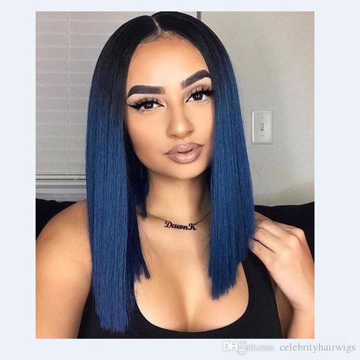 MHAZEL 100%fiber 12inch real hair blue hair wig lace front short bob glueless wig for woman