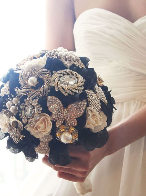 Black & White Jewelry Brooch Bouquet, Custom Made, Handmade, Crystals, Pearls, Wedding, Bridal Bouquet, Trendy, Statement, WBQ5-Size SMALL on Etsy, $114.00