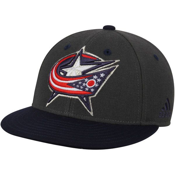 Men s Columbus Blue Jackets adidas Gray Navy Two Tone Fitted Hat ... 0cc0d3ca6668