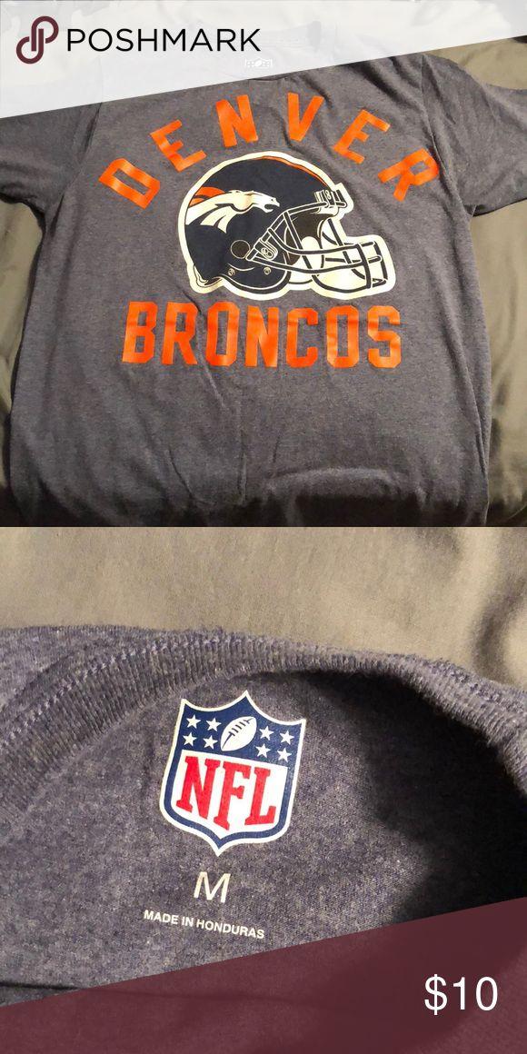 Denver Broncos T-shirt Vintage broncos T-shirt - heather blue color shirt with logo. NFL Tops Tees - Short Sleeve