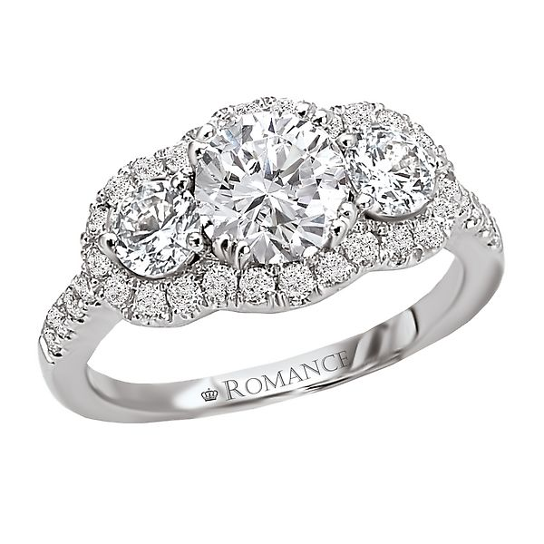 Romance Collection Three Stone Halo Engagement Ring (117266)