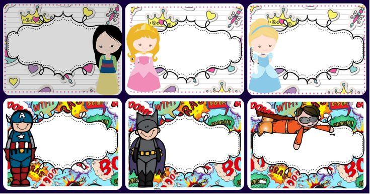 Tarjetas imprimibles multiusos. Motivos Princesas y Súper héroes