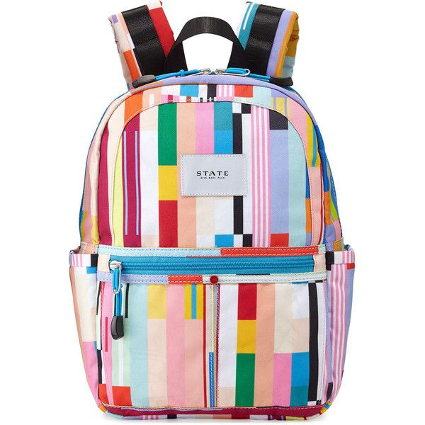 State Bags Kane Custom Stripe Mini Backpack (1.131.950 VND) ❤ liked on Polyvore featuring bags, backpacks, multi colors, striped bag, stripe backpack, daypack bag, backpack bags and multi coloured bags
