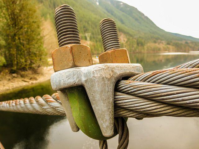 Suspension Bridge Bolt & Cable - very nice close up shot