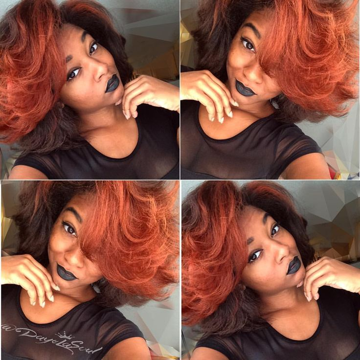 Blood orange hair on natural hair using chi hair care coloring dye with s blow out  Instagram: DayeLaSoul