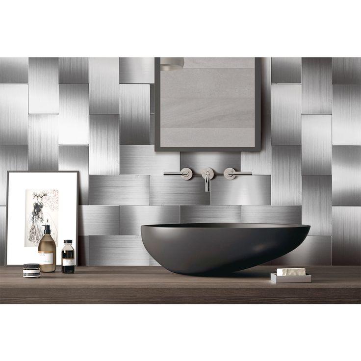 A16020P100 - 100-Pieces Peel n Stick Stainless Steel Backsplash Tiles, 3