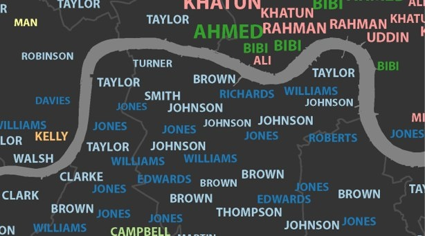 Interactive map of London surnames.: City S Surnames, Interactive Maps, London Surnames