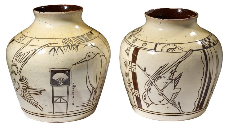 Pair of vases with sgraffito decoration Edward William Godwin Probably made by William Watt London About 1877 Slipware  V&A