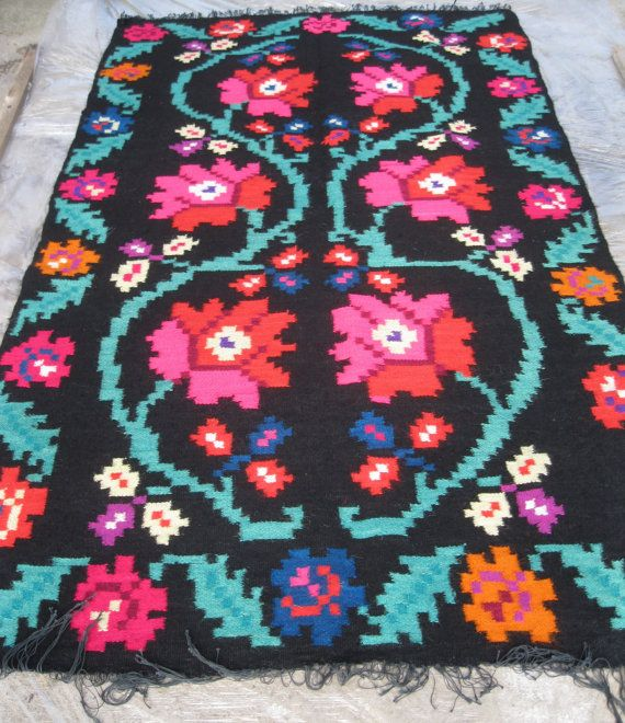 Antique Romanian flat weave wool rug carpet from by RealRomania