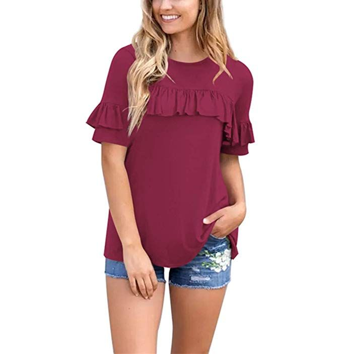 b1f689e12 ALINGNA Women s Spring Ruffle Short Sleeve T-Shirt Casual Scoop Neck Solid  tee tops Burgundy