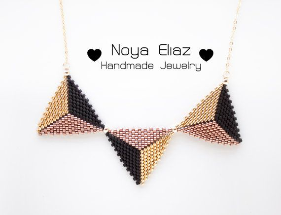 BEADWORK Handmade bronze OR bordeaux with Gold triangle by NoyaEliaz (all delica beads and gold filled)