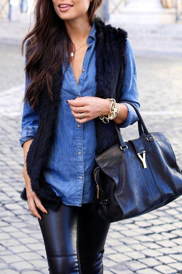 Black faux fur vest  Chambray blue collar shirt  Black leather pants  Black tote bag