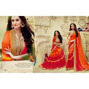 Designer Georgette  Printed Saree with  a splash of Orange and the classic Bandhej statement.