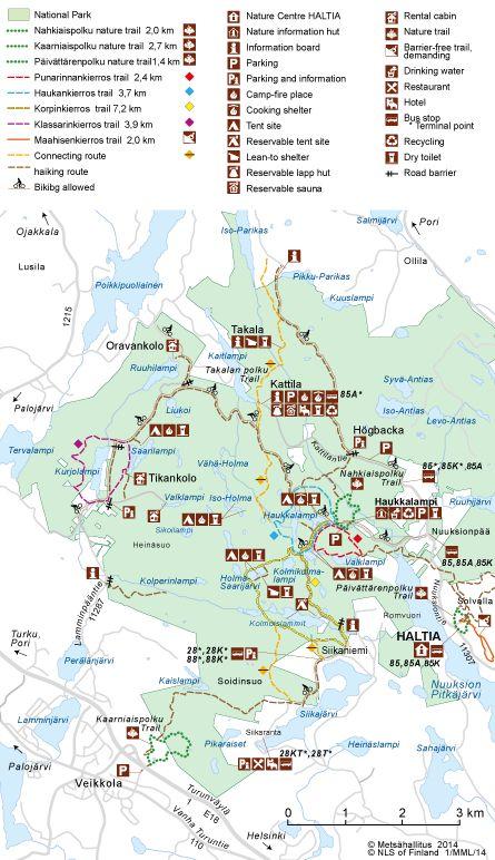Map of Nuuksio National Park. © Metsähallitus 2014