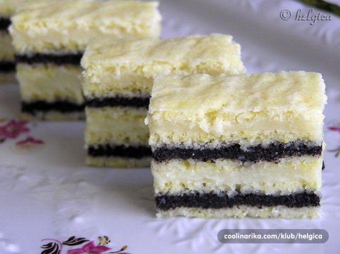 Nebíčko v tlamičce - makové řezy s vanilkovým krémem