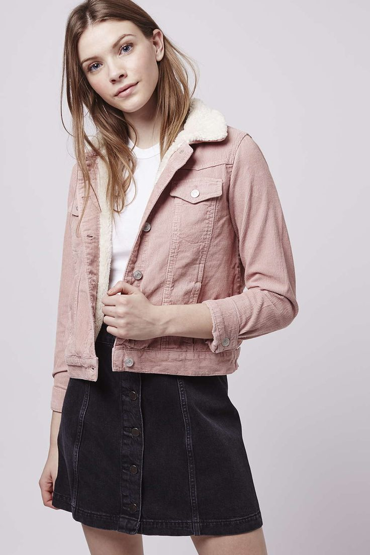 Our MOTO western jacket gets an update in a soft pink hue. Layer over graphic tees for offbeat cool. #Topshop
