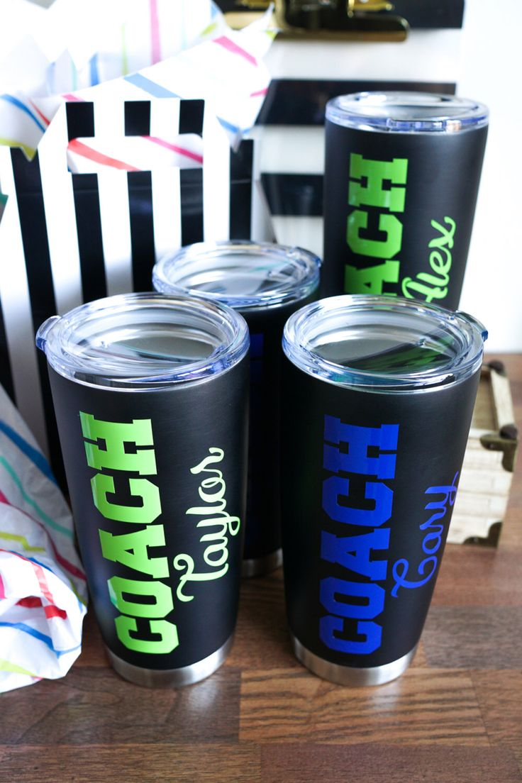 Christmas Gift Coach, Stainless Steel Tumbler, Coach Gift, Soccer, Softball, Basketball, Football, Gymnastics, Volleyball, Swim, Tennis by LaLaConfetti on Etsy https://www.etsy.com/listing/477881183/christmas-gift-coach-stainless-steel