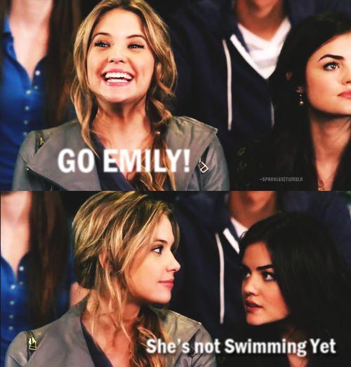 pretty little liars funny | mar 2011 pretty little liars emily aria hanna swimming lol funny tv ...