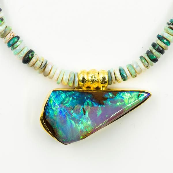 Jennifer Kalled Australian Boulder Opal Necklace Opal Necklace