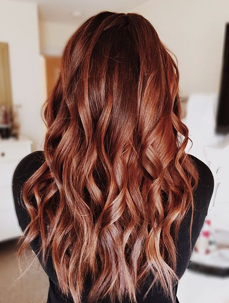 Red hair balayage beachy waves hairstyle by Olivia Halpin