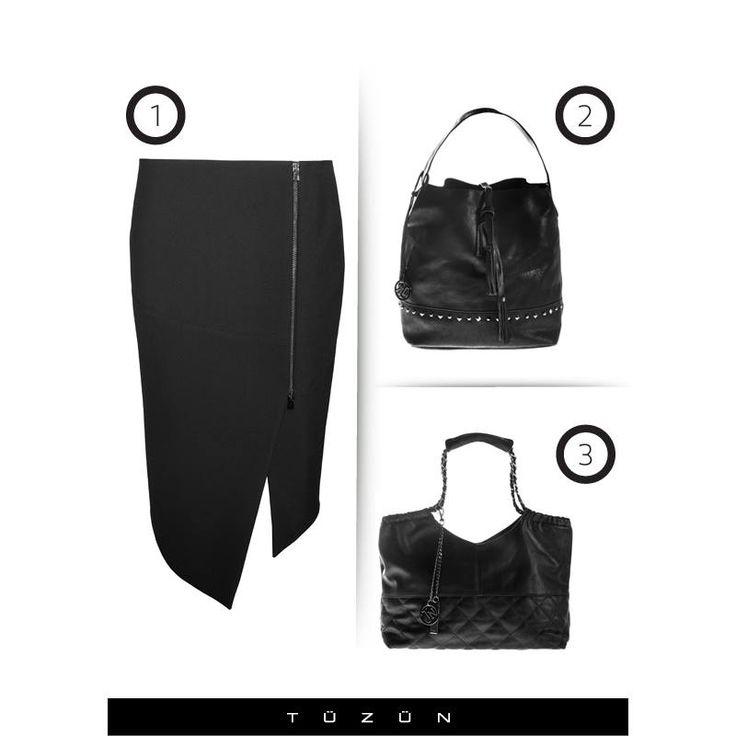 Fermuar detaylı asimetrik kesim etekle sizin çanta seçiminiz hangisi olurdu? #fashion #moda #style #stil #kombin #asimetrik #trend #trendy #Tuzun #TuzunGiyim