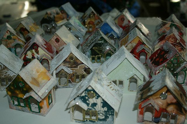 "DIY Recycled Christmas Card Houses ~ a tutorial ~ Putz houses, also called ""glitter houses,"" are little houses that make up a Christmas village. Popular from the 1920s on, they can be made from cardboard, card stock, and even old Christmas cards."