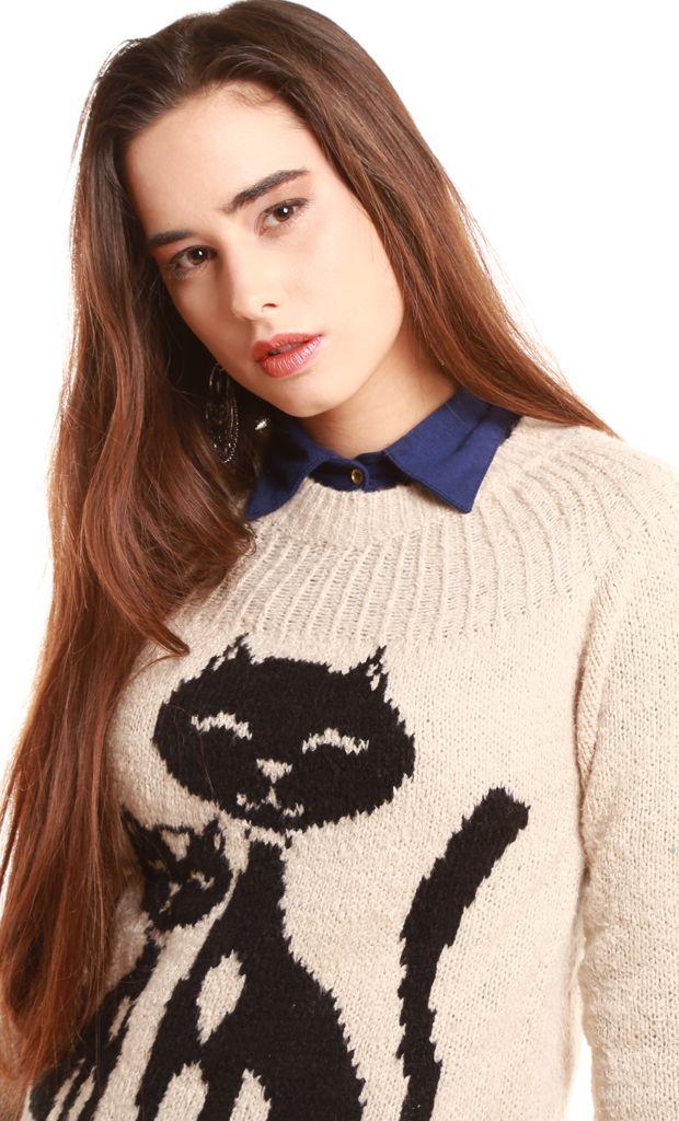 Sweater tejido de hilo y lycra con detalles de gatos ultra divertidos en la parte delantera. El mismo posee cuello redondo, cintura y puños elastizados. Se presenta en diversos colores. Más info: http://www.fashion-delivery.com/index.php?id_product=309&controller=product#.U8BCpvl5P9s