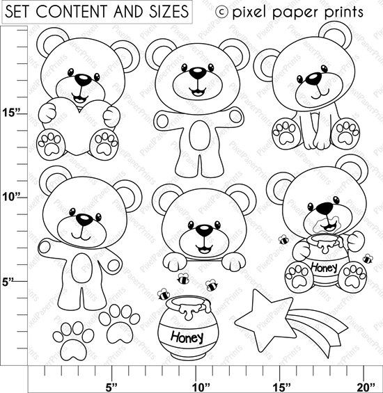 Baby Bear Digital Stamps por pixelpaperprints en Etsy