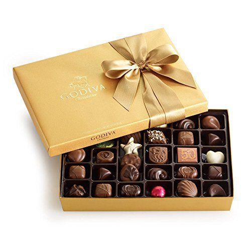 Godiva Chocolatier Gold Ballotin, Classic Gold Ribbon, 36 Count - http://bestchocolateshop.com/godiva-chocolatier-gold-ballotin-classic-gold-ribbon-36-count/