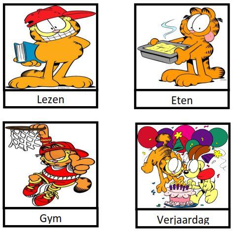 www.juf-lisanne.nl dagritmekaarten voor de midden- of bovenbouw van Garfield
