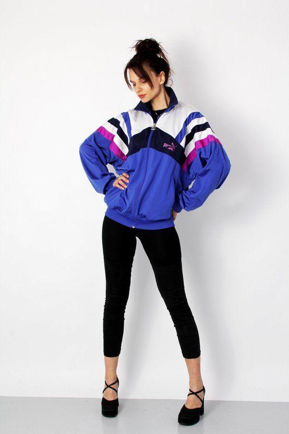 657c4951407c 90s Puma Track Jacket Colorblock Sport Jacket Vintage Sporty Jacket  Tracksuit Blue White Streetwear Grunge Casual wear L