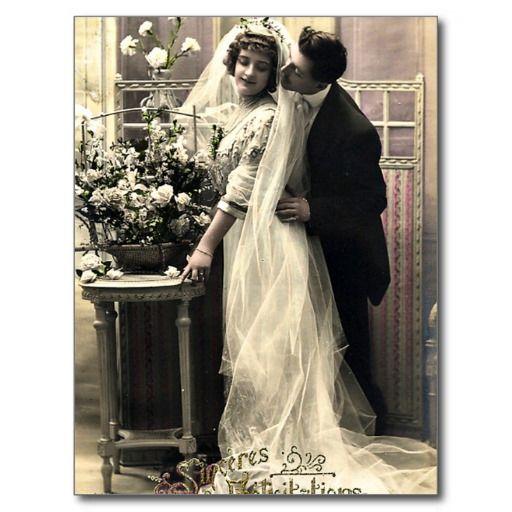 Bride Groom Vintage Wedding Photo Postcard