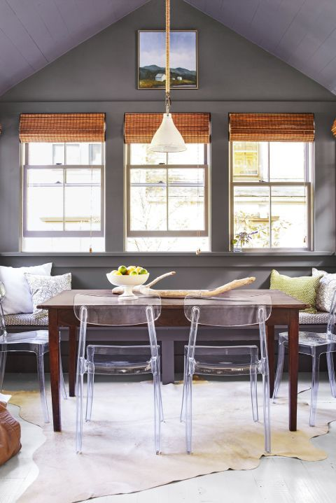 Pull up a clear chair. Create a clean look with transparent dining chairs (wipeable, so great for kids!). Then mix in a variety of textures, like matte-painted walls, a polished table and earthy jute blinds. Click through for more dining room ideas.