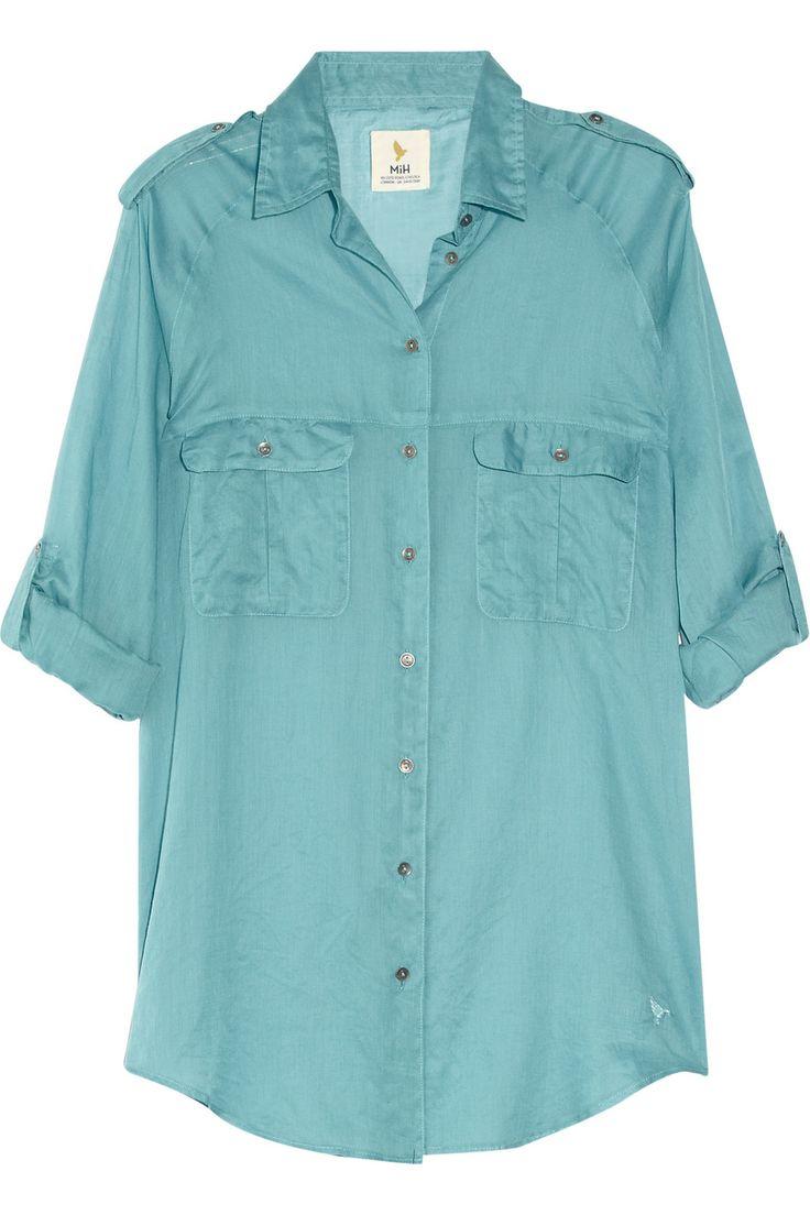 lovely subtle color. MiH Jeans Safari cotton-voile shirt NET-A-PORTER.COM