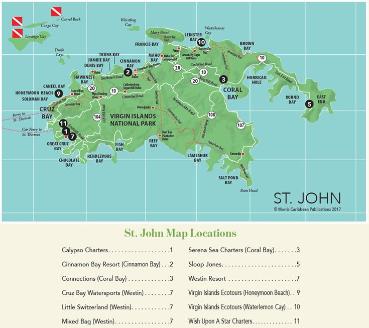 Driving Map of St. John in the U.S. Virgin Islands