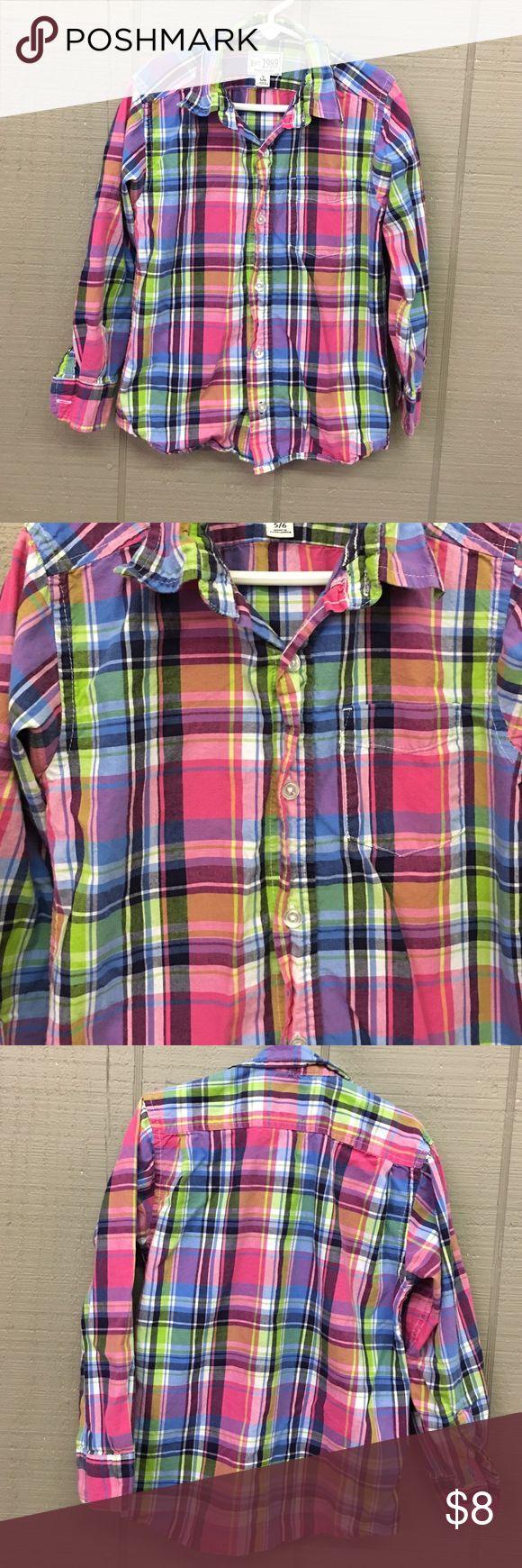 Children's Place pink blue & green plaid shirt 5/6 Children's Place pink blue & green plaid shirt button down shirt, great shirt for Easter 🐇🥚 Children's Place Shirts & Tops Button Down Shirts
