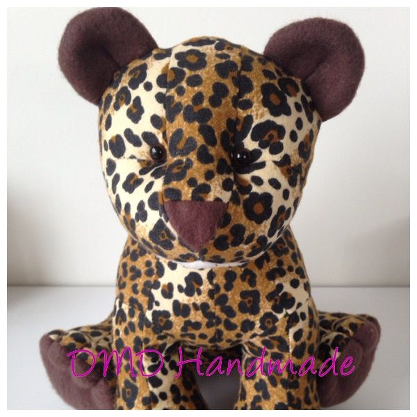 Cute Leopard Softie, Handmade by me,  Larry the Lion Pattern from Funky Friends Factory was used