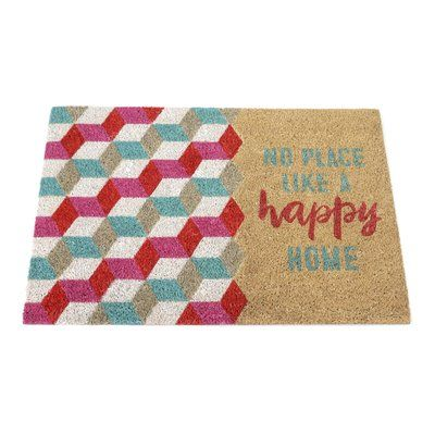 "Ebern Designs Bejarano No Place Like a Happy Home"" Entrance Outdoor Doormat"