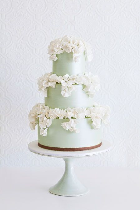 Mint Green Wedding Cake with Ivory Ruffles by Faye Cahill Cake Design