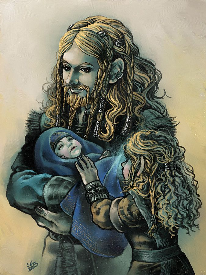 "My Little Brother by Maelstromarts.deviantart.com on @deviantART - Little Fili and Kili with their father, from ""The Hobbit"""