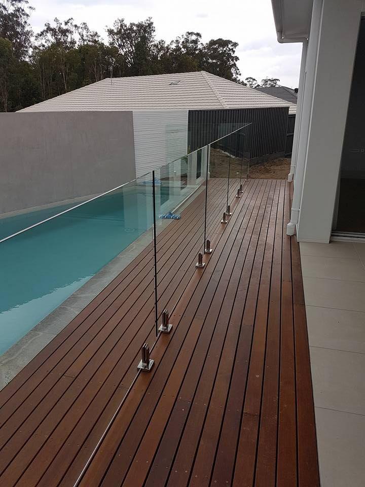 Noosa Merbau Decking With Frameless Pool Fencing Pool Fence Fence Design Backyard Fences