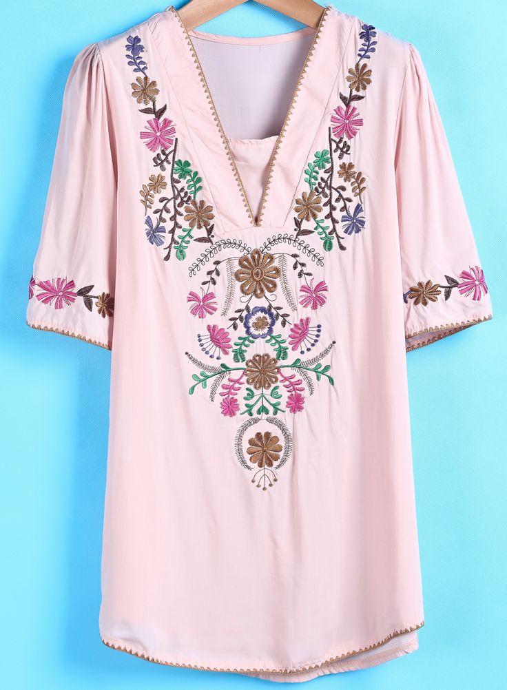 Pink V Neck Short Sleeve Embroidered Blouse US$21.72